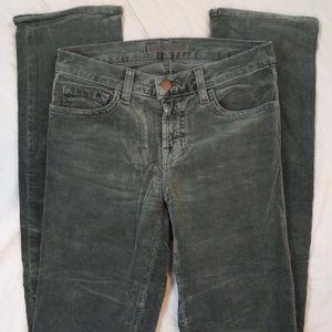 J Brand 514 Slim Leg Drab Green Corduroy Pants